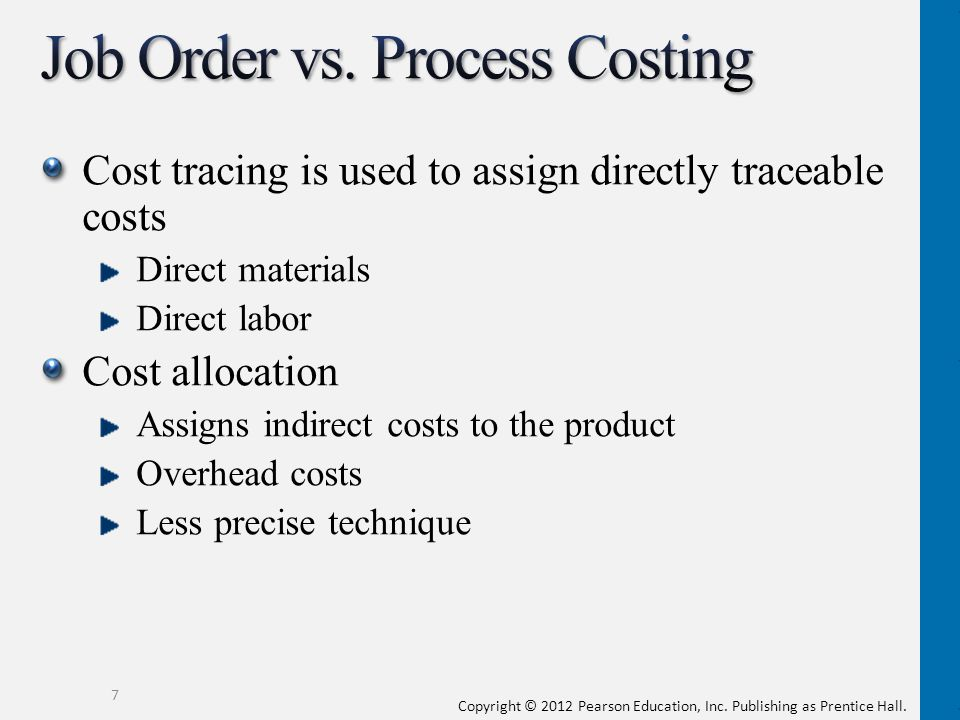 Copyright © 2012 Pearson Education, Inc. Publishing as Prentice Hall. Cost tracing is used to assign directly traceable costs Direct materials Direct