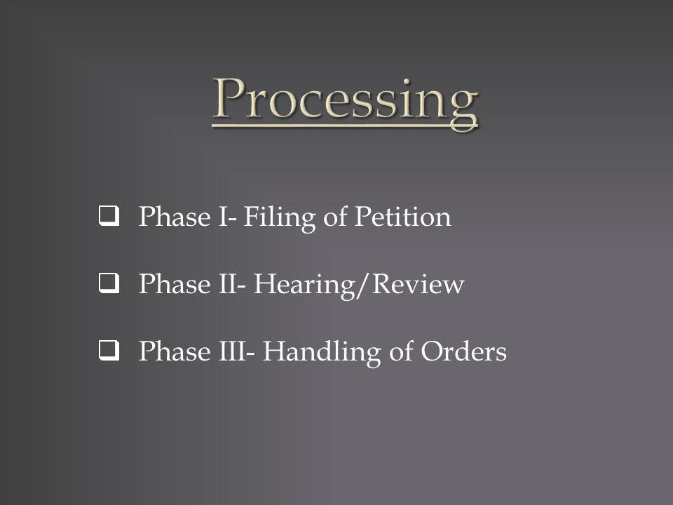 Phase I- Filing of Petition Phase II- Hearing/Review Phase III- Handling of Orders