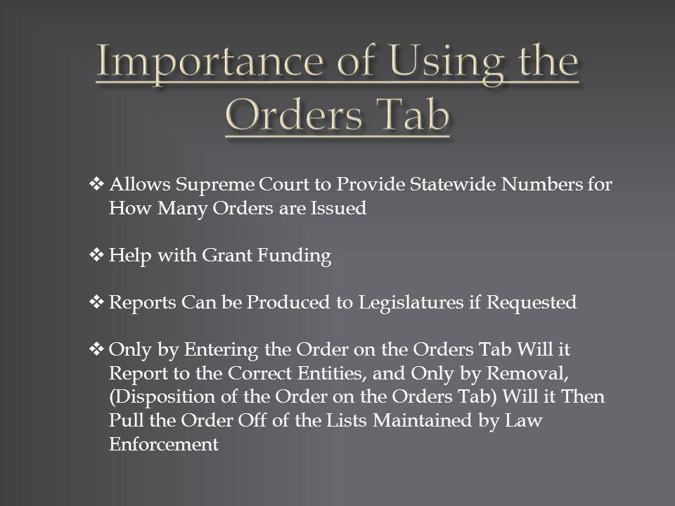 Allows Supreme Court to Provide Statewide Numbers for How Many Orders are Issued Help with Grant Funding Reports Can be Produced to Legislatures if Re