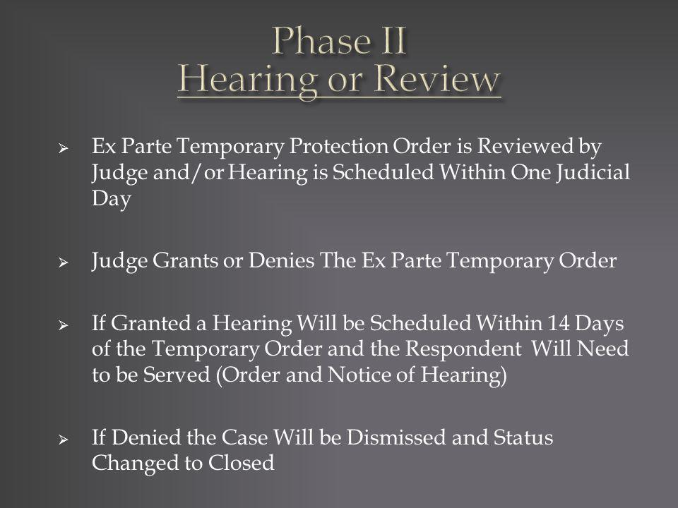 Ex Parte Temporary Protection Order is Reviewed by Judge and/or Hearing is Scheduled Within One Judicial Day Judge Grants or Denies The Ex Parte Tempo