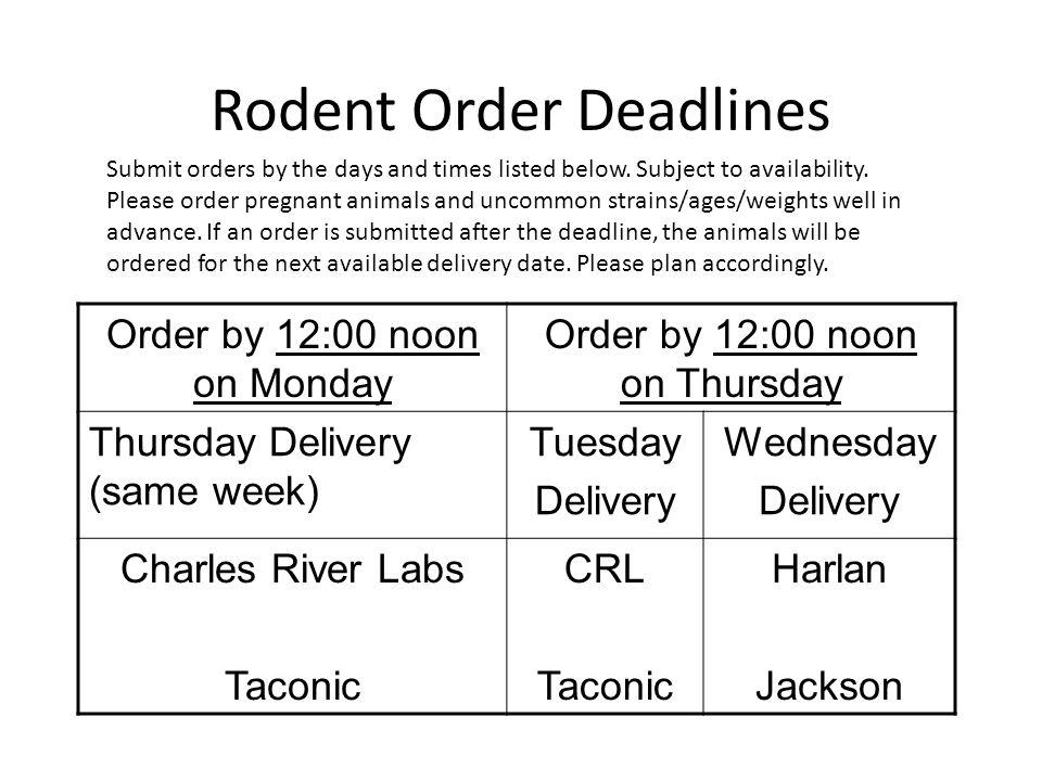Rodent Order Deadlines Order by 12:00 noon on Monday Order by 12:00 noon on Thursday Thursday Delivery (same week) Tuesday Delivery Wednesday Delivery Charles River Labs Taconic CRL Taconic Harlan Jackson Submit orders by the days and times listed below.