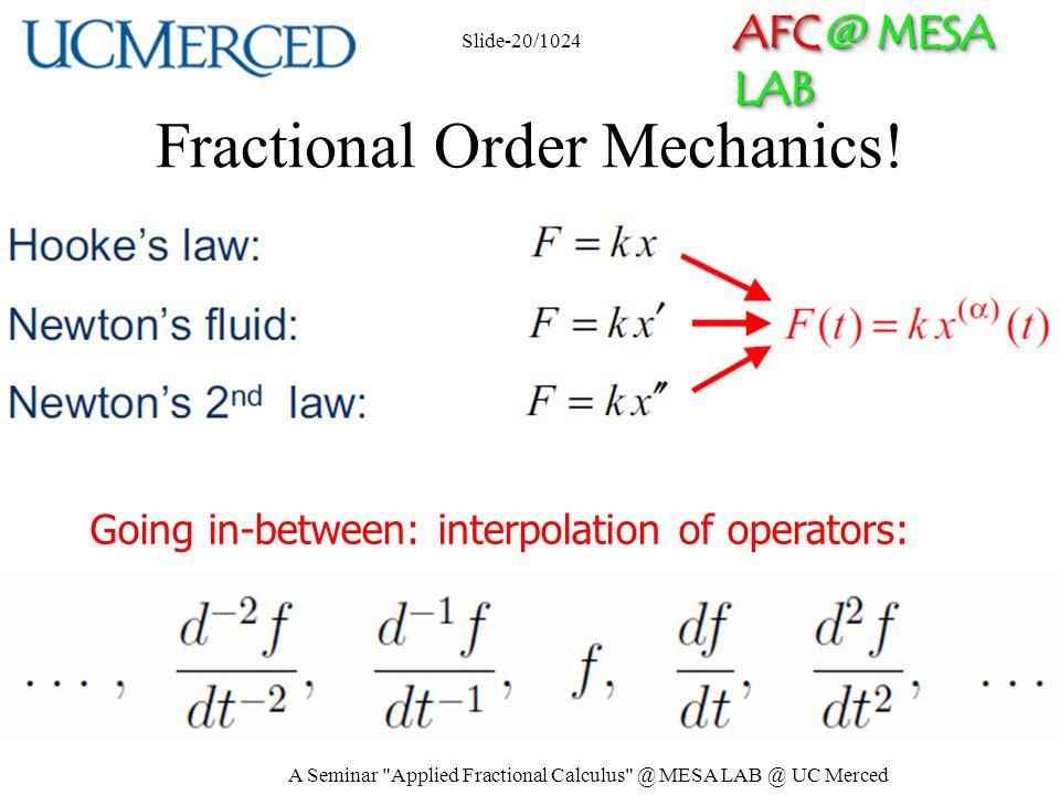 AFC @ MESA LAB Fractional Order Mechanics.