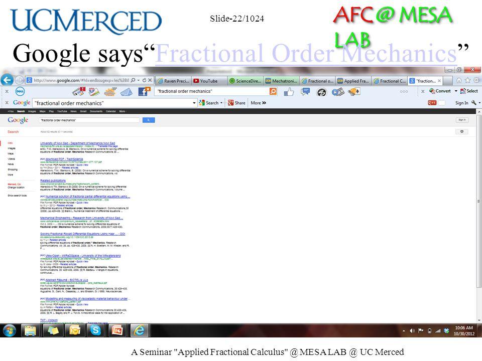 AFC @ MESA LAB Google saysFractional Order MechanicsFractional Order Mechanics A Seminar