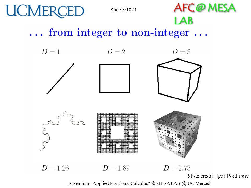 AFC @ MESA LAB Slide credit: Igor Podlubny Slide-8/1024 A Seminar Applied Fractional Calculus @ MESA LAB @ UC Merced