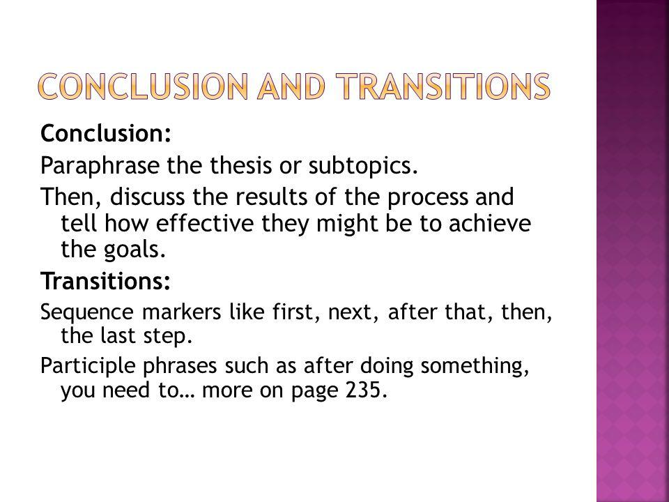 Conclusion: Paraphrase the thesis or subtopics. Then, discuss the results of the process and tell how effective they might be to achieve the goals. Tr