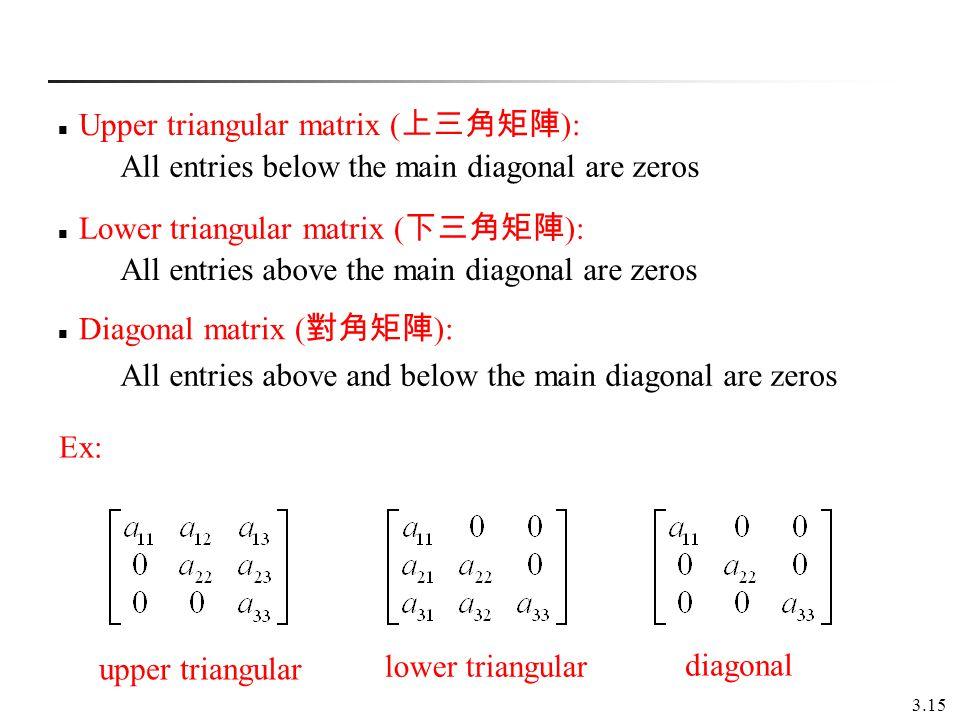 3.15 Upper triangular matrix ( ): Lower triangular matrix ( ): Diagonal matrix ( ): All entries below the main diagonal are zeros All entries above th