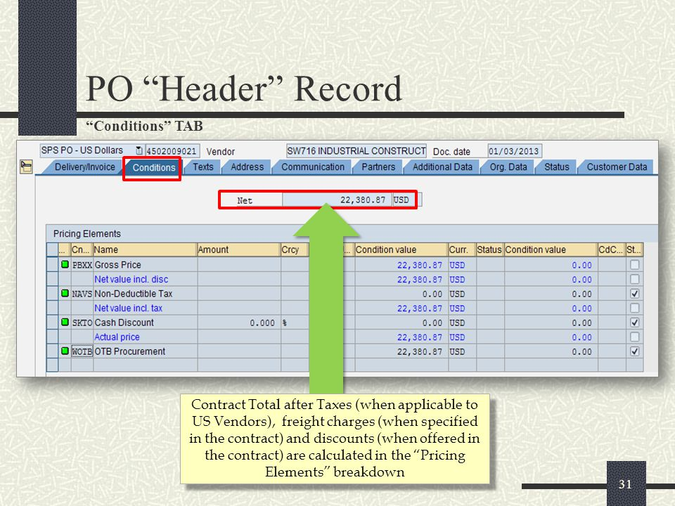 32 Texts and Address TABS Vendor address and contact information Click for more in- depth Vendor Details A basic description of the PO may appear here.