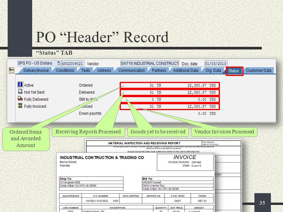 Customer Data TAB 36 PO Header Record