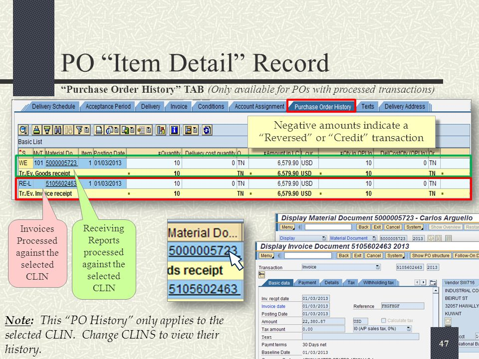 Customer Data/Contracts TAB PO Item Detail Record 48 ACRN (Accounting Classification Reference Number) is a two position alpha numeric code used as method of relating the accounting data to detailed line item information contained in the schedule SLIN (Sub Line Item Number) a six digit code used to identify and distinguish elements of a contract line item (CLIN) (may not be present in all contracts).