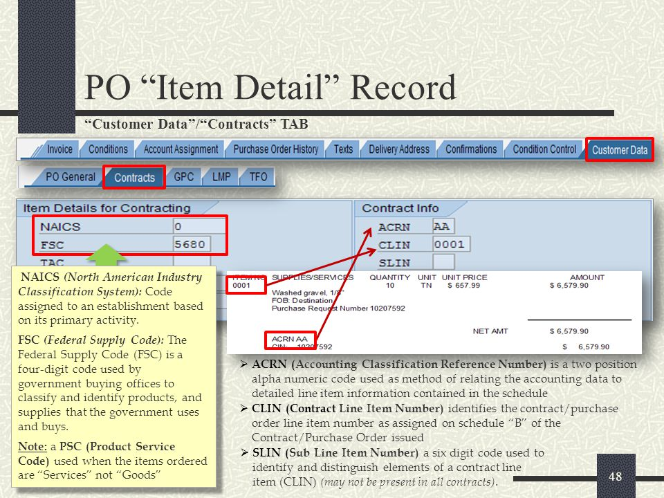 Customer Data/LMP TAB PO Item Detail Record 49 If the Contract is funded by an Outside Agency (Transaction for Others (TFO), the funding data will appear in this tab).
