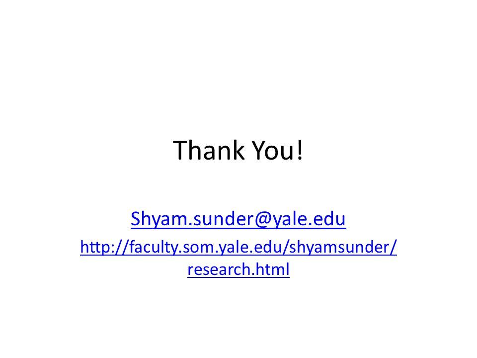 Thank You! Shyam.sunder@yale.edu http://faculty.som.yale.edu/shyamsunder/ research.html