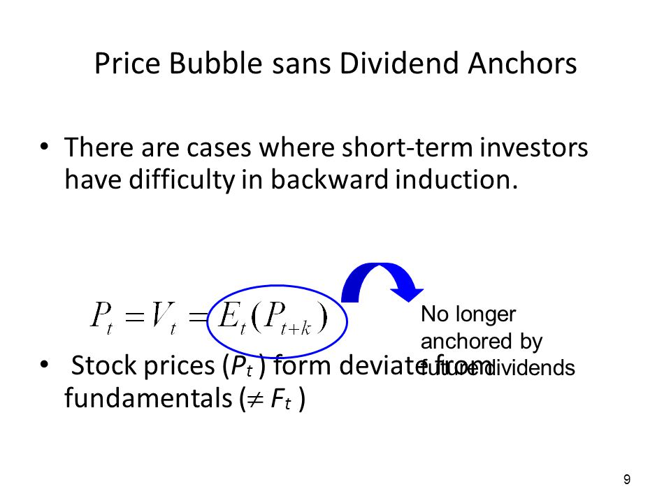 9 Price Bubble sans Dividend Anchors There are cases where short-term investors have difficulty in backward induction. Stock prices (P t ) form deviat