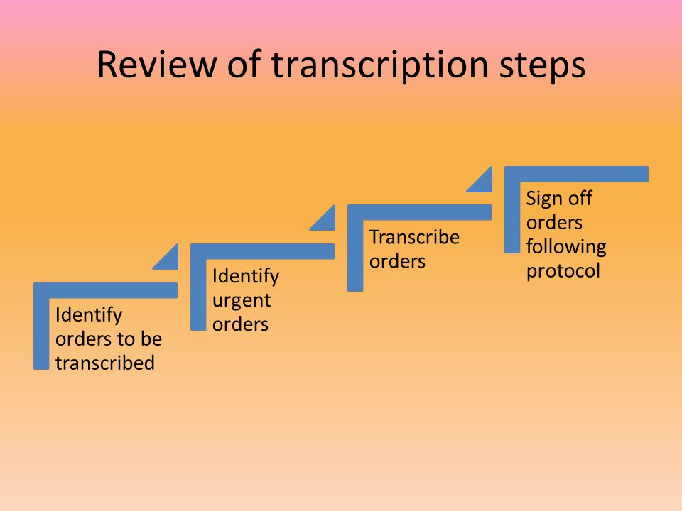 Review of transcription steps Identify orders to be transcribed Identify urgent orders Transcribe orders Sign off orders following protocol