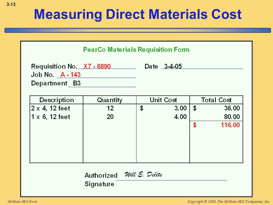 Copyright © 2008, The McGraw-Hill Companies, Inc.McGraw-Hill/Irwin 3-13 Measuring Direct Materials Cost Will E. Delite