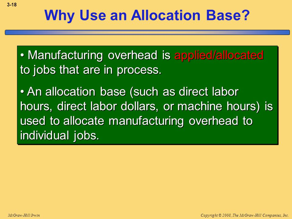 Copyright © 2008, The McGraw-Hill Companies, Inc.McGraw-Hill/Irwin 3-18 Why Use an Allocation Base? Manufacturing overhead is applied/allocated to job