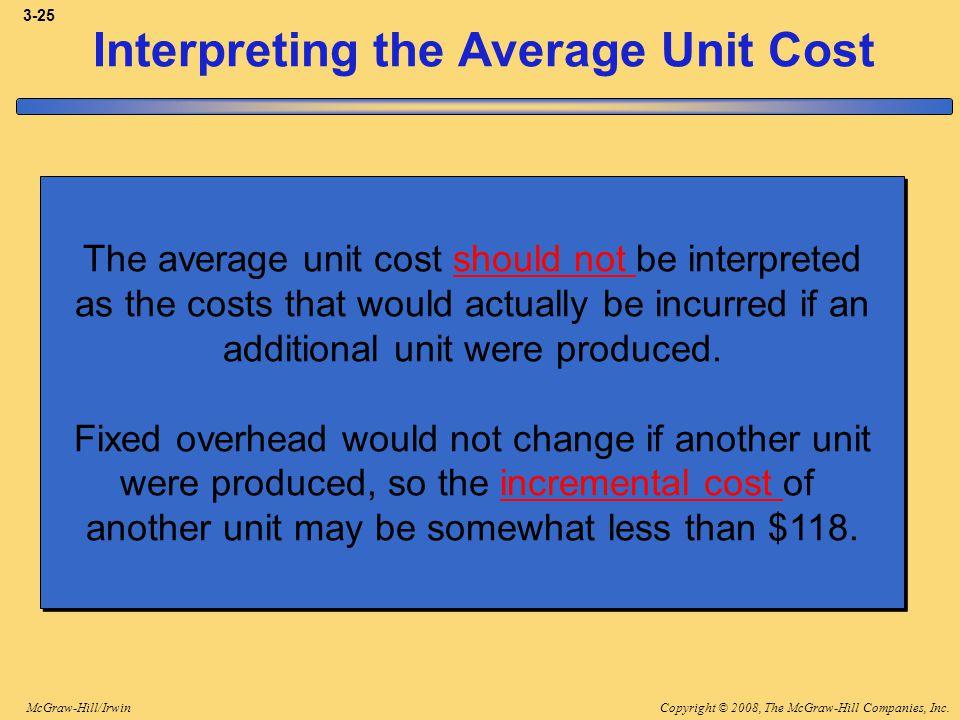 Copyright © 2008, The McGraw-Hill Companies, Inc.McGraw-Hill/Irwin 3-25 Interpreting the Average Unit Cost The average unit cost should not be interpr