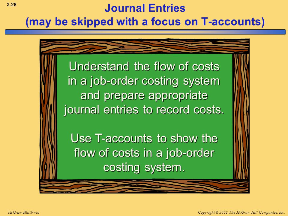 Copyright © 2008, The McGraw-Hill Companies, Inc.McGraw-Hill/Irwin 3-28 Journal Entries (may be skipped with a focus on T-accounts) Understand the flo