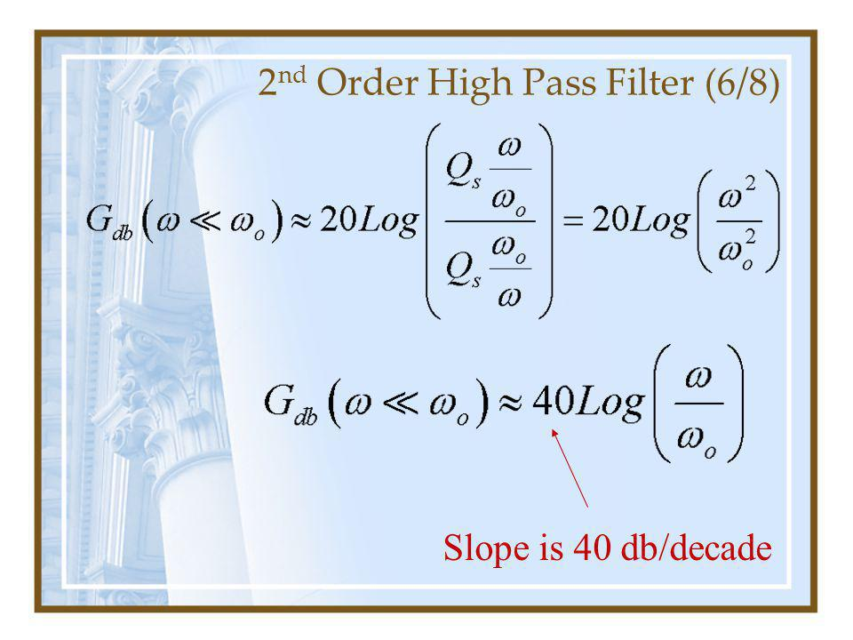 2 nd Order High Pass Filter (6/8) Slope is 40 db/decade