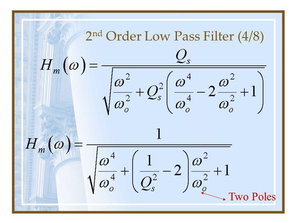 2 nd Order Low Pass Filter (4/8) Two Poles