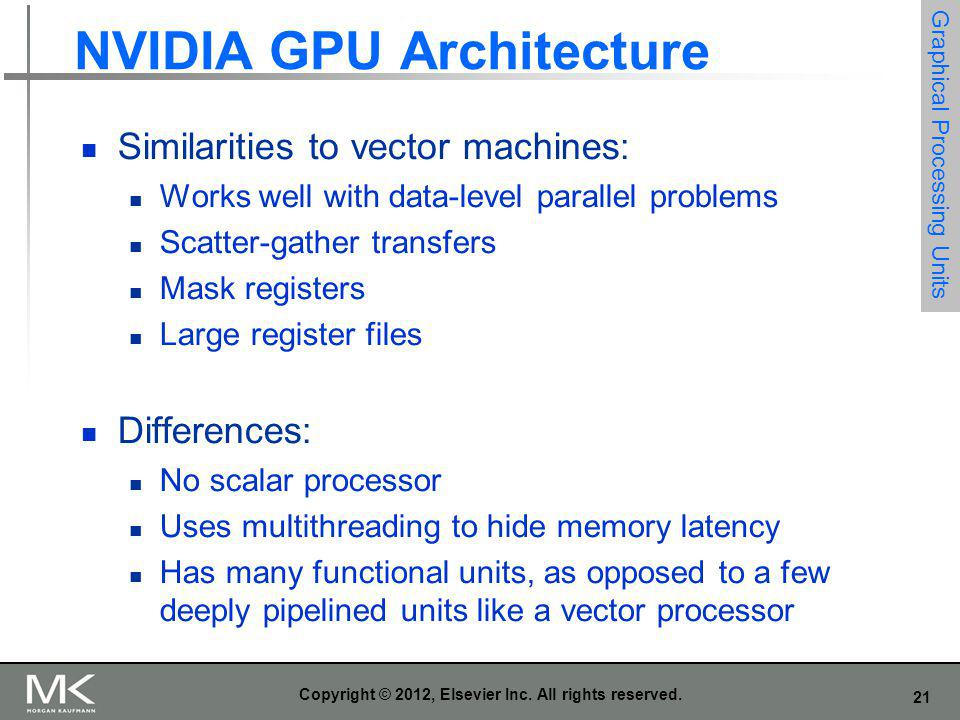 21 Copyright © 2012, Elsevier Inc. All rights reserved. NVIDIA GPU Architecture Similarities to vector machines: Works well with data-level parallel p