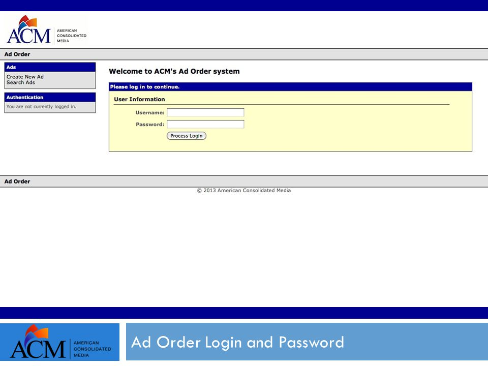 Ad Order Login and Password