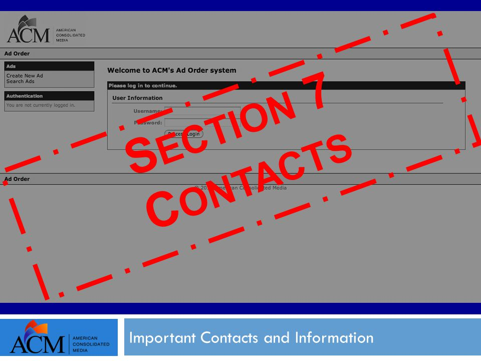 Important Contacts and Information S ECTION 7 C ONTACTS