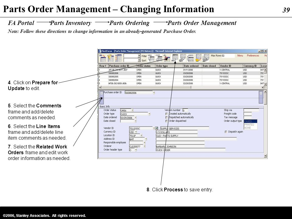 39 ©2006, Stanley Associates. All rights reserved. 39 Parts Order Management – Changing Information FA Portal Parts Inventory Parts Ordering Parts Ord