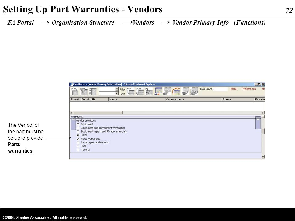 72 ©2006, Stanley Associates. All rights reserved. 72 Setting Up Part Warranties - Vendors The Vendor of the part must be setup to provide Parts warra