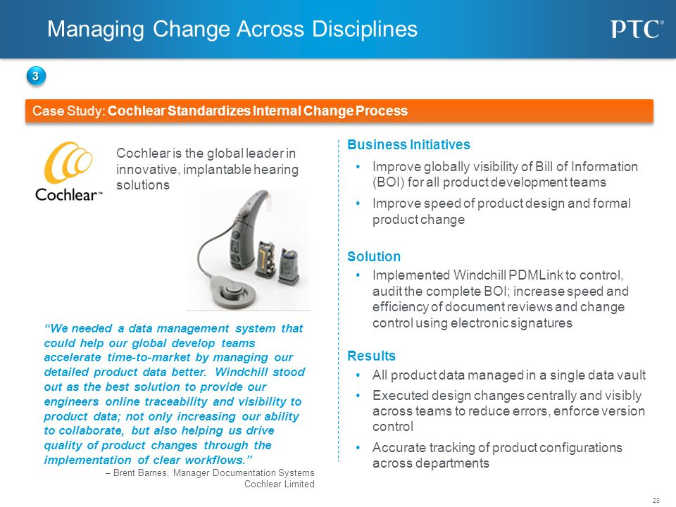 28 Case Study: Cochlear Standardizes Internal Change Process © 2010 PTC 33 Business Initiatives Improve globally visibility of Bill of Information (BO