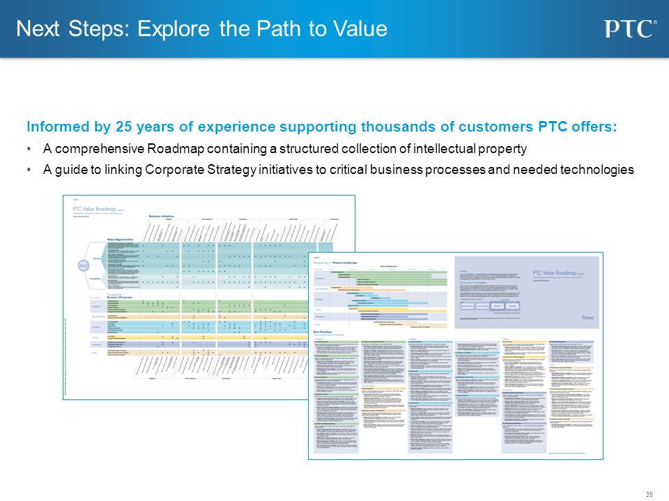 39 Next Steps: Explore the Path to Value Informed by 25 years of experience supporting thousands of customers PTC offers: A comprehensive Roadmap cont