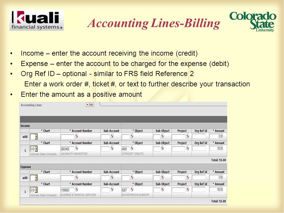 Accounting Lines-Billing Income – enter the account receiving the income (credit) Expense – enter the account to be charged for the expense (debit) Org Ref ID – optional - similar to FRS field Reference 2 Enter a work order #, ticket #, or text to further describe your transaction Enter the amount as a positive amount