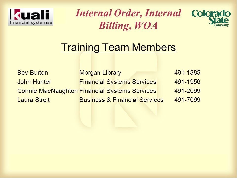 Internal Order, Internal Billing, WOA Training Team Members Bev BurtonMorgan Library491-1885 John Hunter Financial Systems Services491-1956 Connie MacNaughtonFinancial Systems Services491-2099 Laura StreitBusiness & Financial Services491-7099