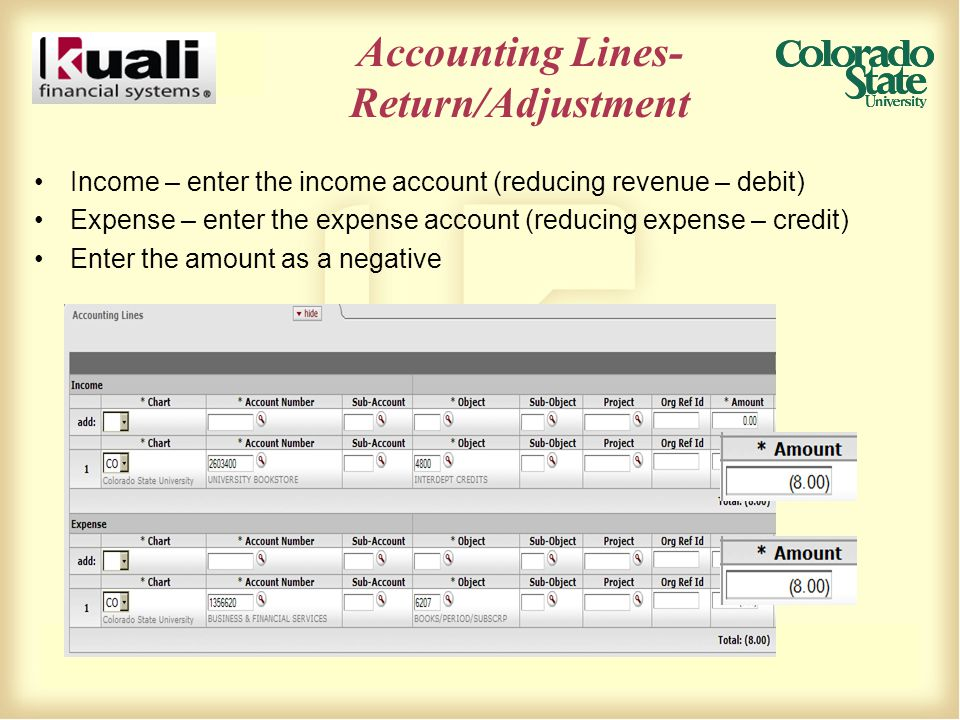 Accounting Lines- Return/Adjustment Income – enter the income account (reducing revenue – debit) Expense – enter the expense account (reducing expense – credit) Enter the amount as a negative