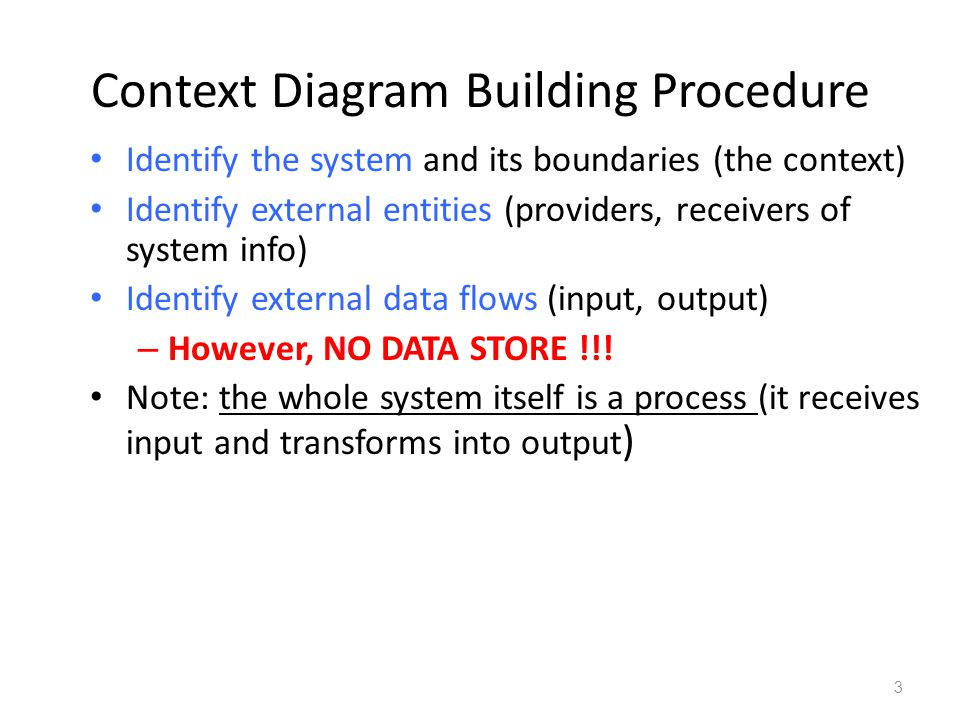 3 Context Diagram Building Procedure Identify the system and its boundaries (the context) Identify external entities (providers, receivers of system info) Identify external data flows (input, output) – However, NO DATA STORE !!.
