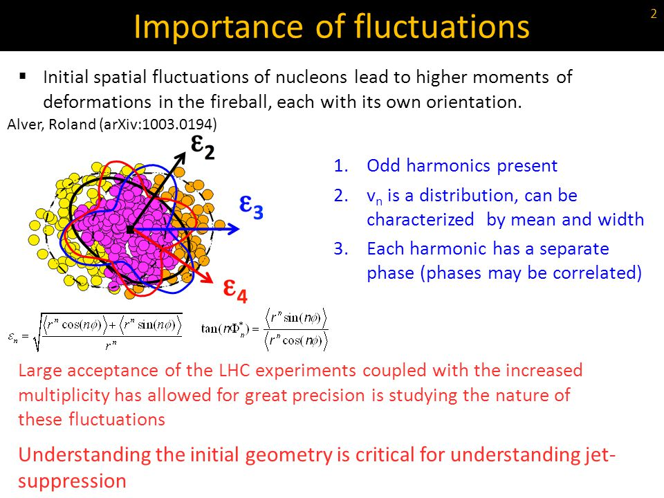 Initial spatial fluctuations of nucleons lead to higher moments of deformations in the fireball, each with its own orientation. Importance of fluctuat