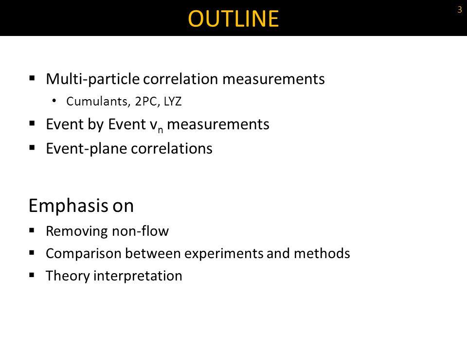 Multi-particle correlation measurements Cumulants, 2PC, LYZ Event by Event v n measurements Event-plane correlations Emphasis on Removing non-flow Com
