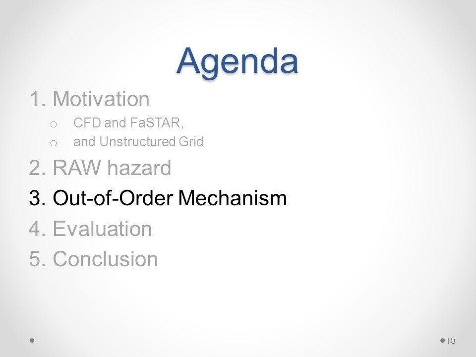 Agenda 1.Motivation o CFD and FaSTAR, o and Unstructured Grid 2.RAW hazard 3.Out-of-Order Mechanism 4.Evaluation 5.Conclusion 10