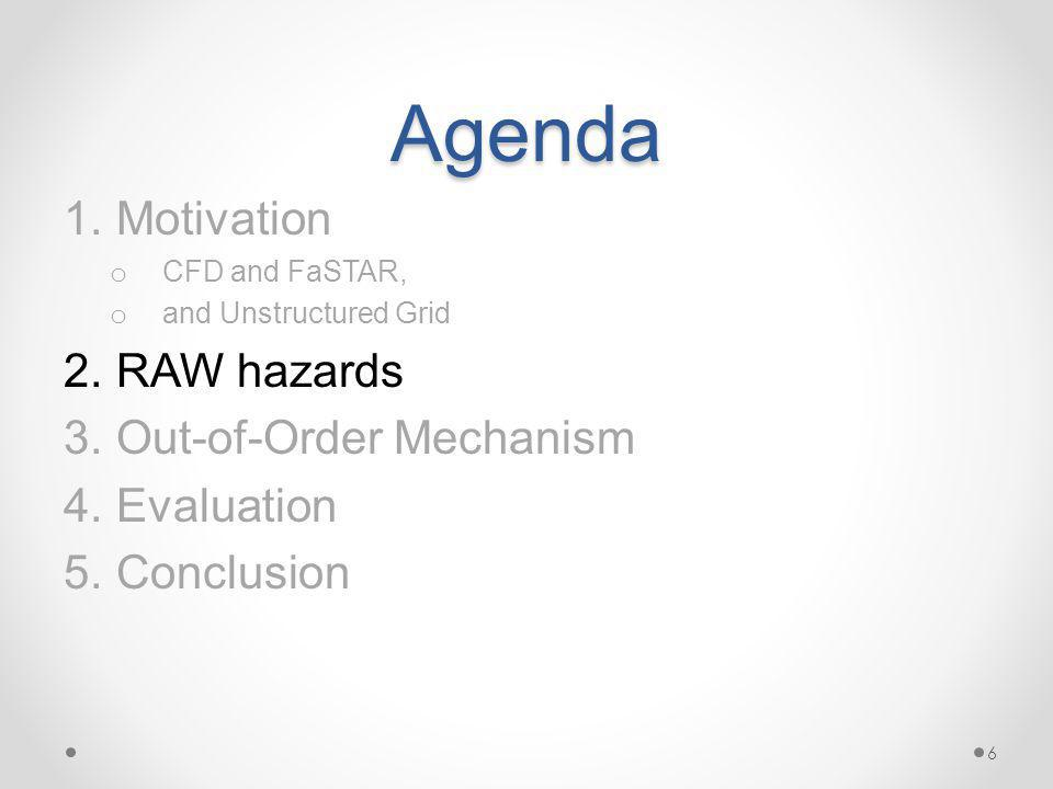 Agenda 1.Motivation o CFD and FaSTAR, o and Unstructured Grid 2.RAW hazards 3.Out-of-Order Mechanism 4.Evaluation 5.Conclusion 6