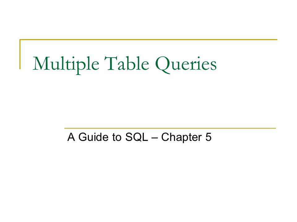 Multiple Table Queries A Guide to SQL – Chapter 5