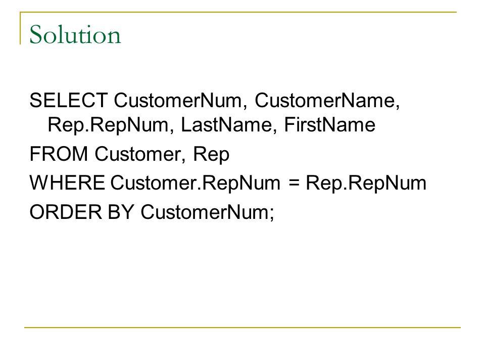 Solution SELECT CustomerNum, CustomerName, Rep.RepNum, LastName, FirstName FROM Customer, Rep WHERE Customer.RepNum = Rep.RepNum ORDER BY CustomerNum;