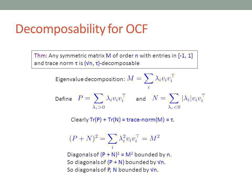 Decomposability for OCF Thm: Any symmetric matrix M of order n with entries in [-1, 1] and trace norm τ is (n, τ)-decomposable Eigenvalue decomposition: Defineand Clearly Tr(P) + Tr(N) = trace-norm(M) = τ.