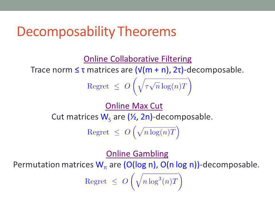 Decomposability Theorems Online Collaborative Filtering Trace norm τ matrices are ((m + n), 2τ)-decomposable.