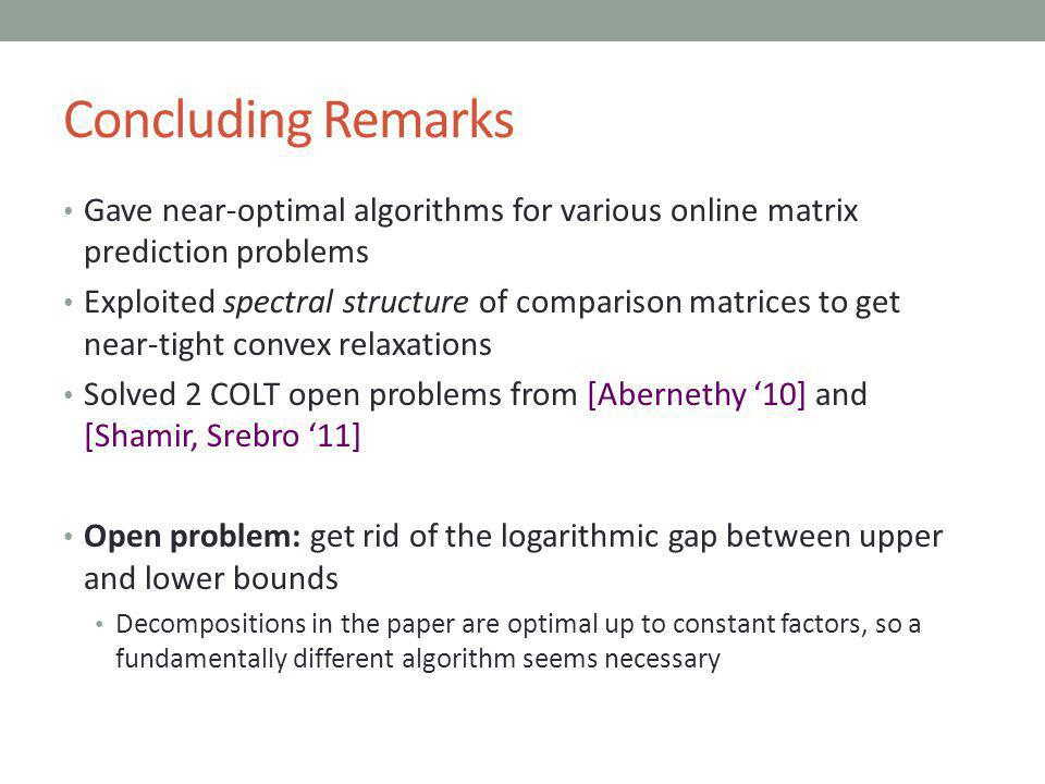Concluding Remarks Gave near-optimal algorithms for various online matrix prediction problems Exploited spectral structure of comparison matrices to get near-tight convex relaxations Solved 2 COLT open problems from [Abernethy 10] and [Shamir, Srebro 11] Open problem: get rid of the logarithmic gap between upper and lower bounds Decompositions in the paper are optimal up to constant factors, so a fundamentally different algorithm seems necessary