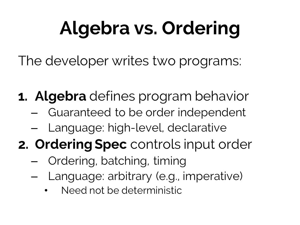 Algebra vs.Ordering The developer writes two programs: 1.