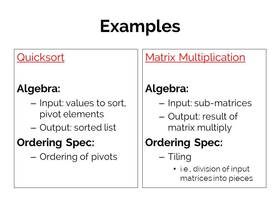 Examples Quicksort Algebra: – Input: values to sort, pivot elements – Output: sorted list Ordering Spec: – Ordering of pivots Matrix Multiplication Al