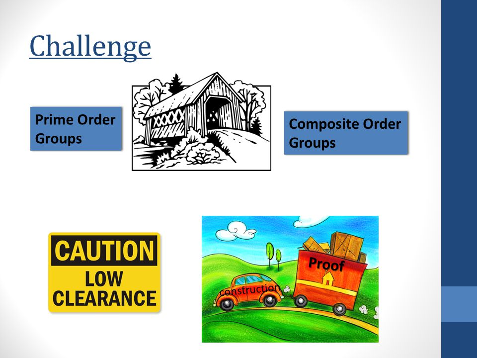 Challenge Proof construction Composite Order Groups Composite Order Groups Prime Order Groups Prime Order Groups