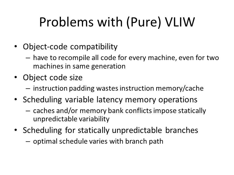 Problems with (Pure) VLIW Object-code compatibility – have to recompile all code for every machine, even for two machines in same generation Object co