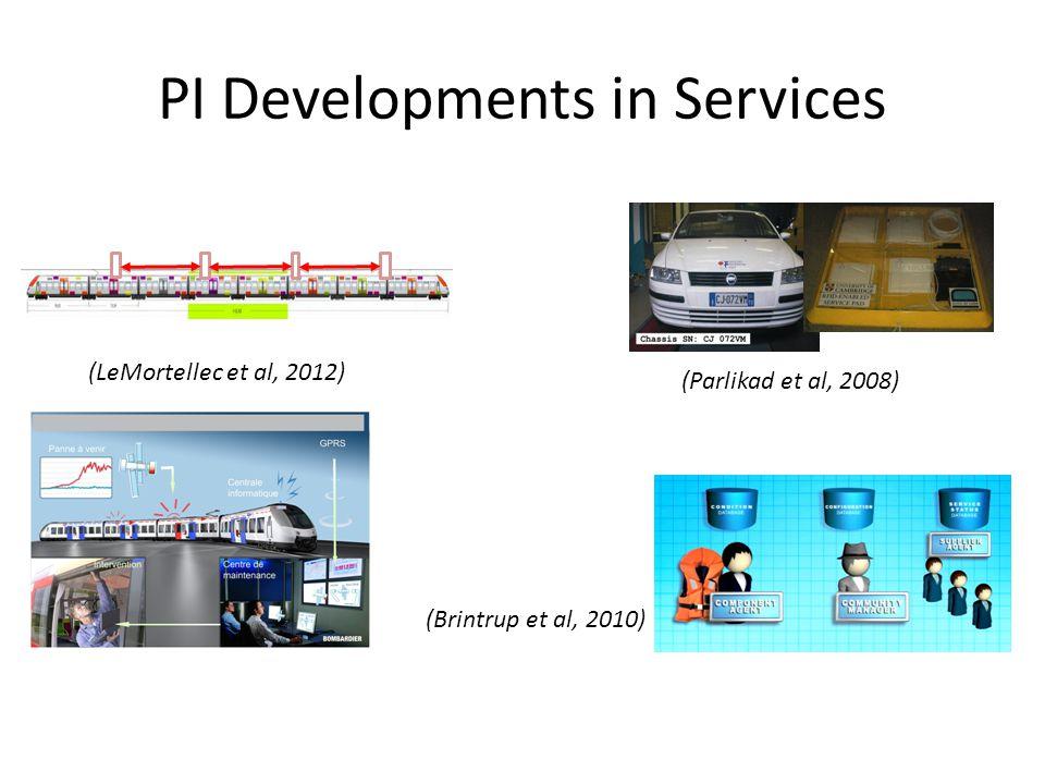PI Developments in Services (Parlikad et al, 2008) (LeMortellec et al, 2012) (Brintrup et al, 2010)
