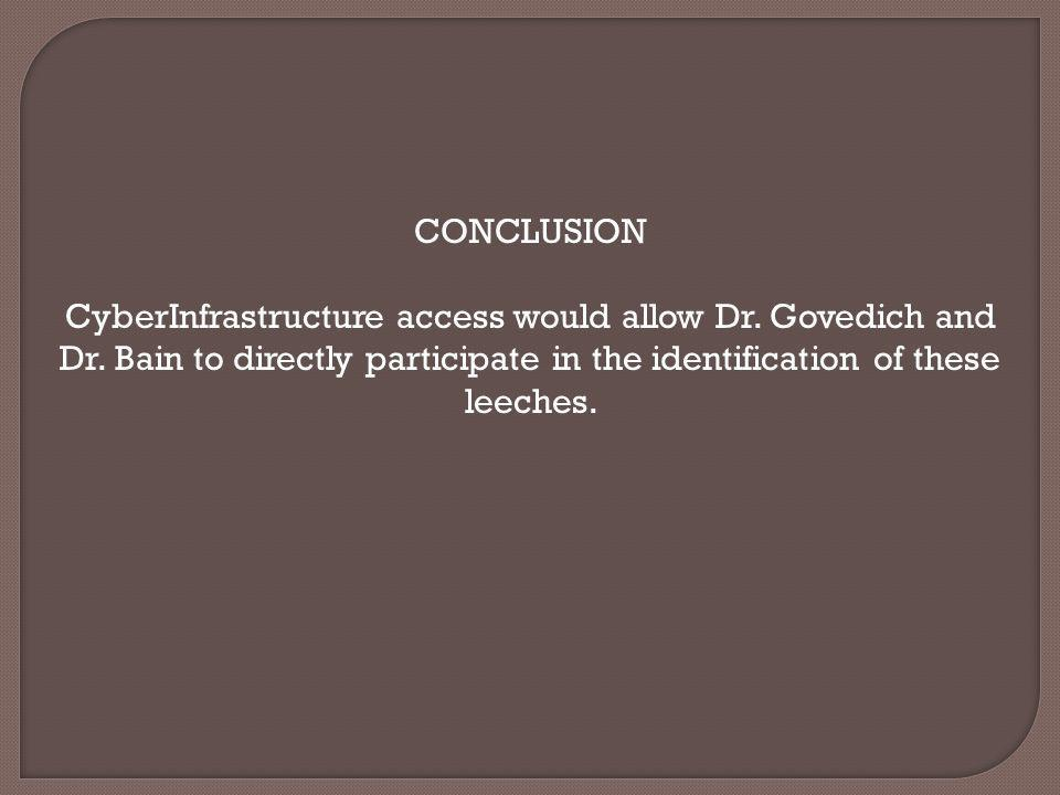 CONCLUSION CyberInfrastructure access would allow Dr. Govedich and Dr. Bain to directly participate in the identification of these leeches.