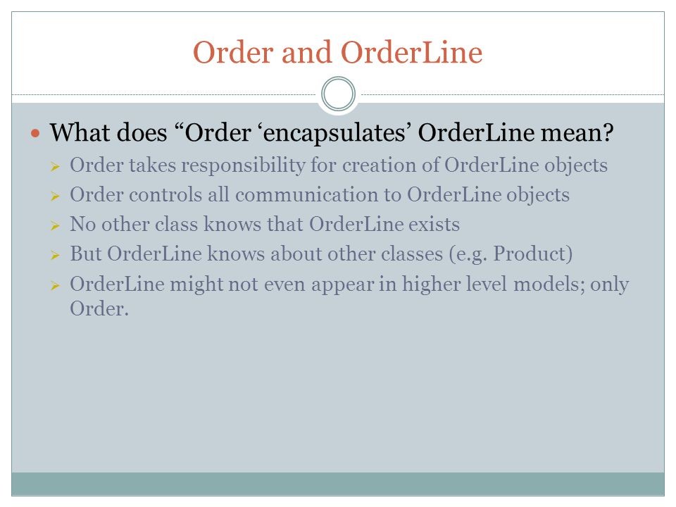 Order and OrderLine What does Order encapsulates OrderLine mean.